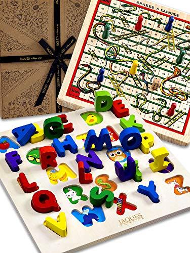 Jaques of London Alphabet Holzpuzzle 2 in 1 Schlangen und Leitern Brettspiel Holz-Lernspielzeug seit über 220...