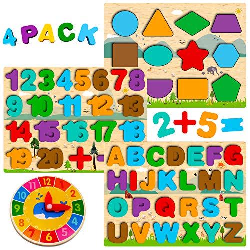 Montessori Spielzeug ab 1 2 3 4 Jahre, Holzpuzzle Kleinkind, Buchstaben Zahlen Form Puzzle, ABC Nummer Lernen,...