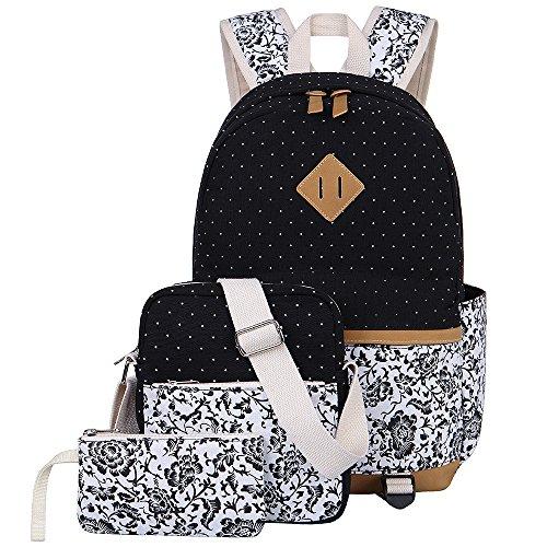 BLUBOON Schulrucksack Canvas Mädchen/Damen Schul Rucksack Set, Schulranzen + Schultertasche/Messenger Bag +...