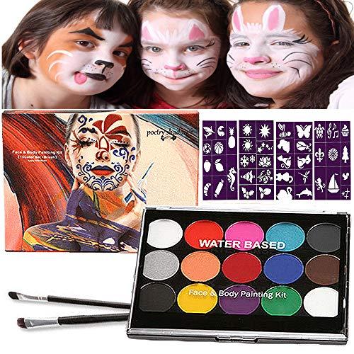 Halloween Kinderschminke Set, Face Paint Body Paint für Kinder und Erwachsene mit 15 Farben Schminkpalette, 2...
