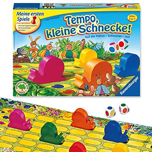 Ravensburger Kinderspiel 21420 - Tempo kleine Schnecke - Das spannende Schneckenrennen, Brettspiel und...