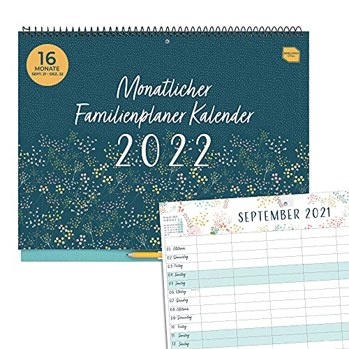 Boxclever Press Monatlicher Familienplaner Kalender 2021 2022. 16-monatiger Kalender 2022 Wandkalender von...