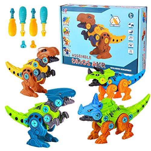 Lekebaby Dinosaurier Montage Spielzeug, 4 Stück Gebäude Dino Spielzeug Set mit Werkzeugen DIY Gebäude...