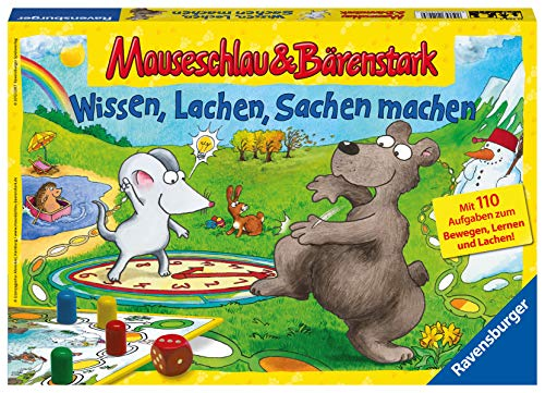 Ravensburger 21298 - Wissen, Lachen, Sachen machen - Mauseschlau & Bärenstark für Kinder, Kinderspiel für...