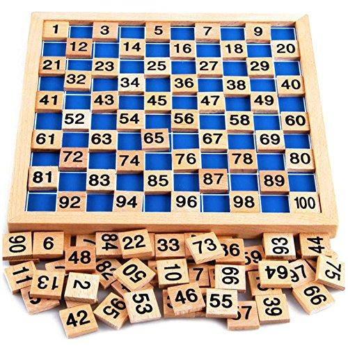 Montessori Mathematik Puzzle Spielzeug aus Holz zum Zahlen Lernen mit Zahlenfeldern und Ziffern, Bunt / Natur...