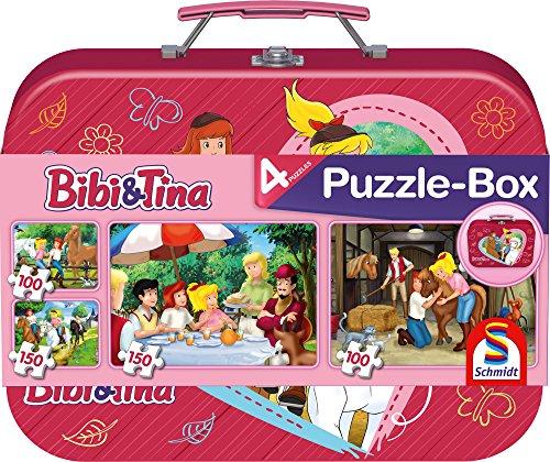 Schmidt Spiele 56509 Bibi und Tina, 4 Kinderpuzzle im Metallkoffer, 2x100 und 2x150 Teile