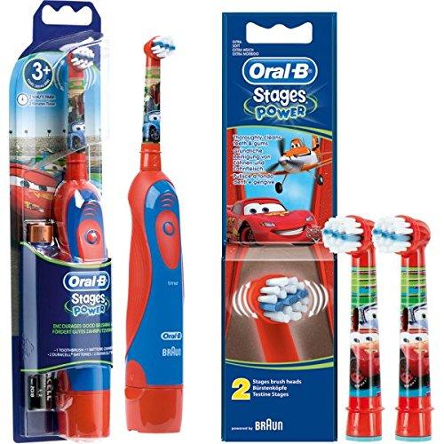 SPAR-SET: 1 Braun Oral-B Stages Power Kids cls Batterie-Zahnbürste Kinder DB4.510.K Disney CARS + 2er Stages...