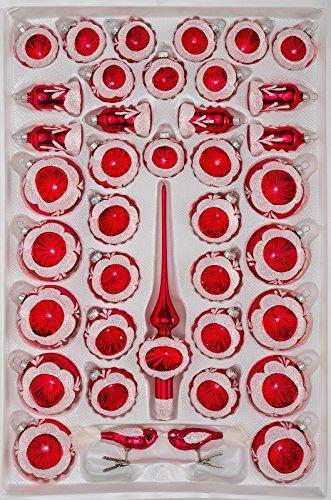39 TLG. Glas-Weihnachtskugeln Set in Hochglanz Vintage Rot - Christbaumkugeln -...