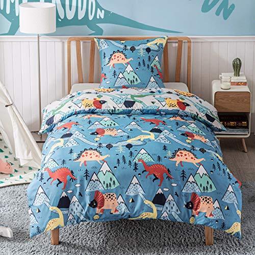 Bedsure Bettwäsche Kinder 135x200 Kinderbettwäsche jungen 135 x 200 cm, Bettwäsche Dinosaurier Muster mit...