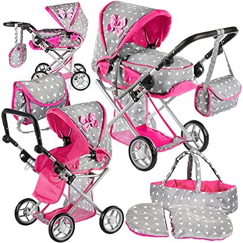 Kinderplay Puppenwagen ab 1 2 3 Jahre Kinderwagen Spielzeug - Grau Kombi, 3 in 1, Spielzeug Draussen,...