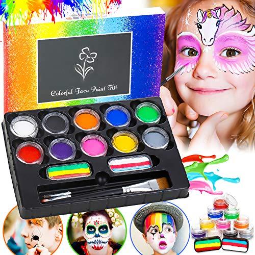 Flyfun Kinderschminke Set 12-Farben, Professionelles Gesichtsfarbe Bodypaint für Kinder, Waschbar Halloween...