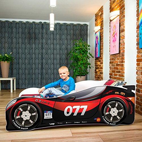 Nobiko Autobett Kinderbett Bett Schlafzimmer Kindermöbel Spielbett 160 x 80 cm + Qualitativ Hochwertige...