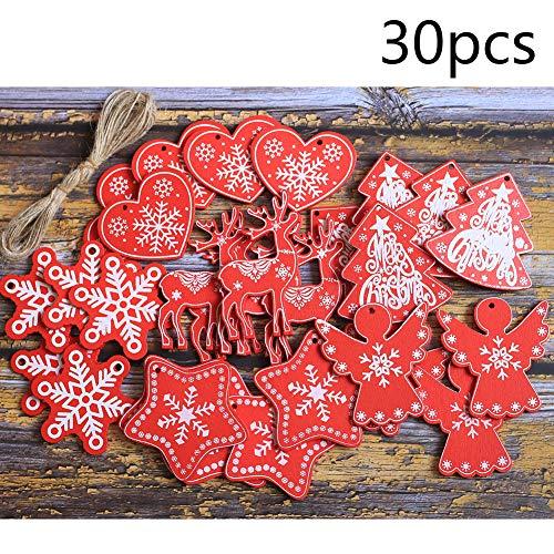 DAHI Weihnachtendeko Holz Anhänger 30 Stücke Christbaumschmuck (Holz anhaenger rot)