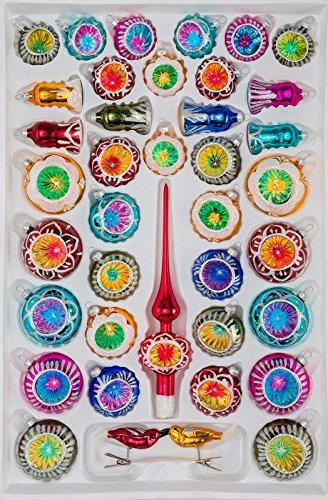 39 TLG. Glas-Weihnachtskugeln Set in Hochglanz Vintage Style - Christbaumkugeln -...