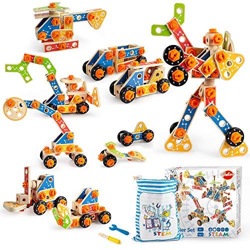 VATOS Holz Konstruktionsspielzeug, Pädagogisches Montessori Spielzeug ab 3 4 5 6 7 8 9 10+ Jahren Junge und...