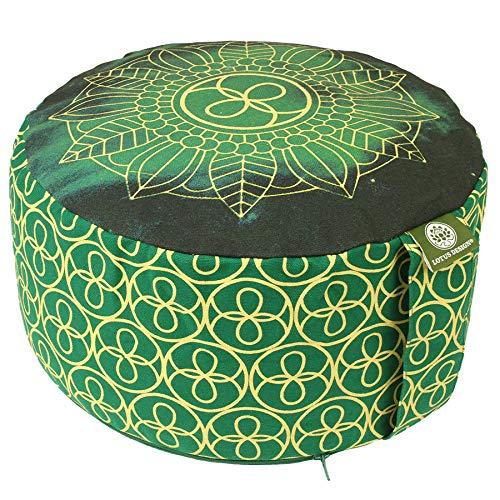 Lotus Design Meditationskissen/Yogakissen rund, Chakra Muster, 15 cm hoch, Bezug 100% Baumwolle waschbar,...