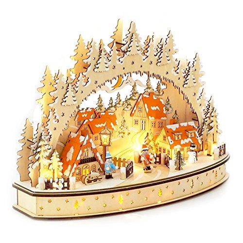 Wichtelstube-Kollektion LED Schwibbogen Oval Weihnachtsdorf Lichterbogen Schwippbogen