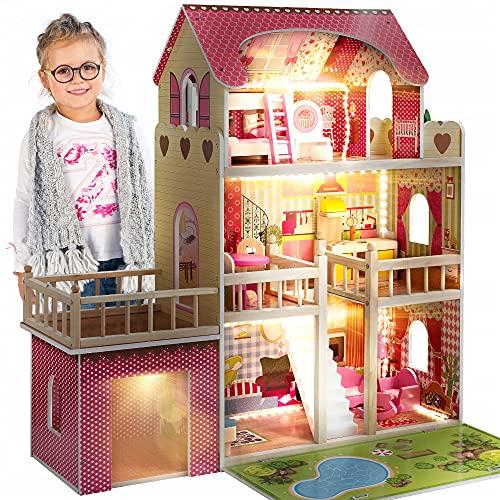 Kinderplay Puppenhaus Holz Gross, Puppenvilla, Puppenhaus Holz Groß komplett - Barbie Traumvilla, Barbie...