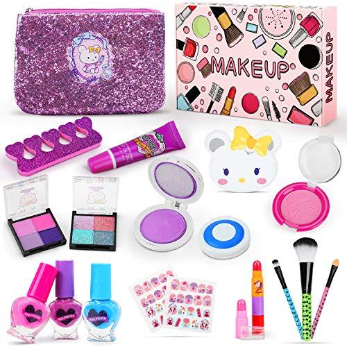Jojoin Makeup Set für Kinder, 19 Stück Waschbar Kinderschminke Set mit 2 Haarfarbclip, 3 Herzförmigen...
