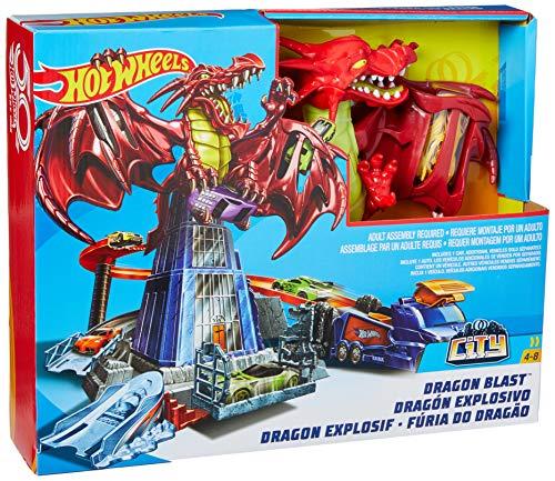Hot Wheels DWL04 City Drachen Attacke Set, großes Spielset inkl. 1 Spielzeugauto und Starter, ab 4 Jahren