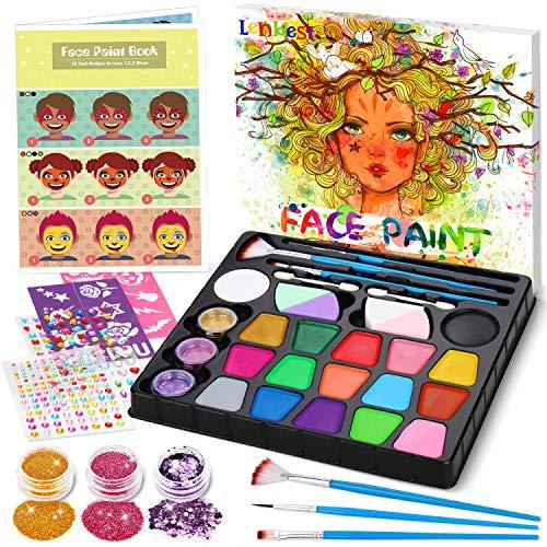lenbest Kinderschminke Set, 17 Professionelle Schminkfarben (5 Schimmernde Farben), mit Gemalte...