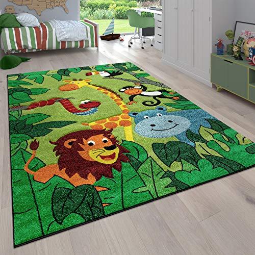 Paco Home Kinderzimmer Kinderteppich für Jungen mit Tier u. Dschungel Motiven Kurzflor, Grösse:80x150 cm,...