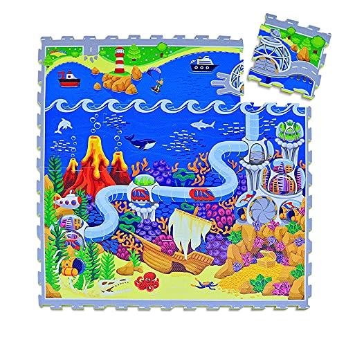 Hakuna Matte Puzzlematte für Babys Ozeanzauber 1,2x1,2m, 16 Fliesen – 20% dickere Spielmatte in Einer...