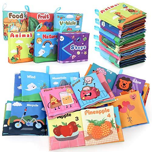 BeebeeRun Stoffbuch für Babys,6-Pack Baby Buch Baby Spielzeug Ab 0 Monaten +,Kinder Geschenk