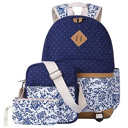 BLUBOON Schulrucksack Canvas Mädchen/Damen Schul Rucksack Set, Schulranzen + Schultertasche / Messenger Bag +...