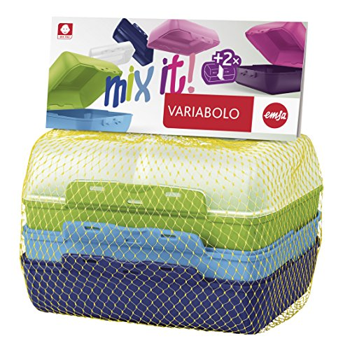 Emsa 517053 Variabolo 4-teiliges Frischhaltedosen Boys-Set, 16 x 11 x 7 cm, beidseitig zu öffnen,...