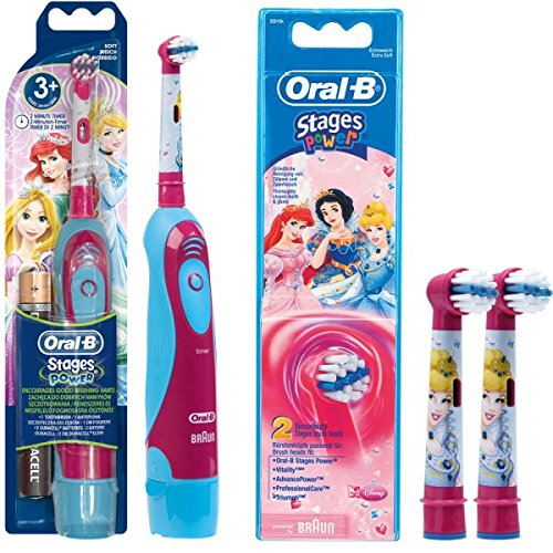 SPAR-SET: 1 Braun Oral-B Stages Power Kids cls Batterie-Zahnbürste Kinder DB4.510.K Disney Prinzessin...