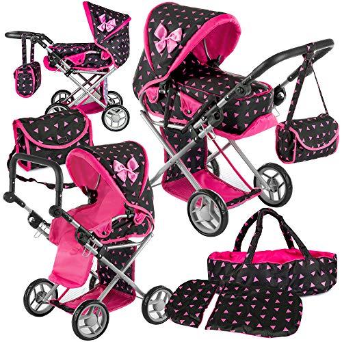 Kinderplay Puppenwagen ab 1 2 3 Jahre Kinderwagen Spielzeug - 3in1 Spielzeug Draussen, Puppenwagen mit...
