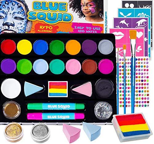 Kinderschminke Set Party Set von Blue Squid 49 teiliges 17-Farben für lebendige Körperbemalungen...