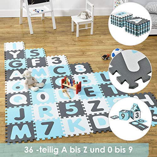 Juskys Kinder Puzzlematte Noah 36 Teile mit Buchstaben & Zahlen | rutschfest & abwischbar | Jungen ab 3 Jahre...