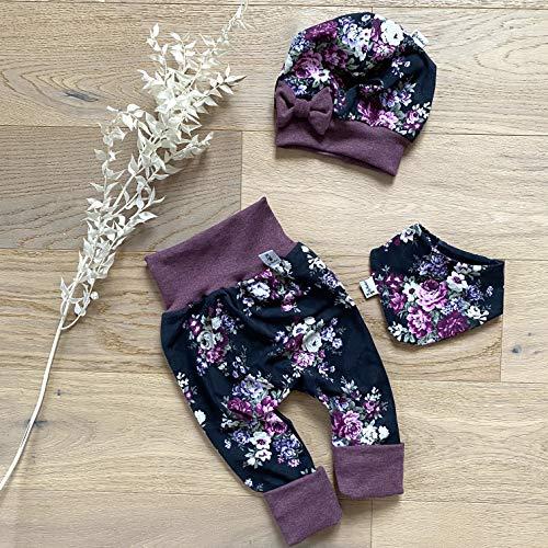 ANGEBOT Set - Hose, Schleifenmütze, Halstuch - Schwarz - große Rosen Bordeaux Baby Mädchen
