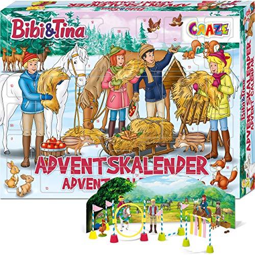 CRAZE Adventskalender BIBI & TINA Pferde Spielfiguren Set Pferdefiguren Spielset für Mädchen und Jungen...