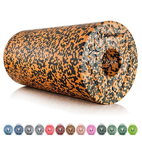 BODYMATE Faszienrolle Standard Mittel-Hart mit Gratis E-Book - Black/Orange Tiger-Orange 30x15cm