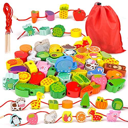 Montessori Spielzeug ab 2 3 4 Jahre Mädchen Jungen,Holzspielzeug Fädelspiel Geschenk Motorikspielzeug ab 2-4...
