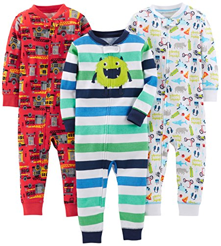 Simple Joys by Carter's Baby Jungen 3-pack Snug Fit Footless Cotton Schlafstrampler,...