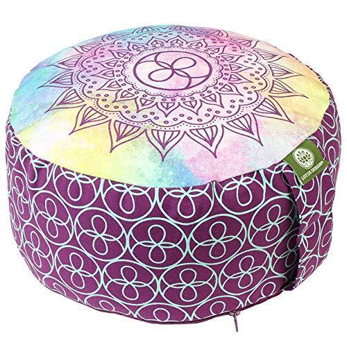 Lotus Design Yogakissen Meditationskissen rund, Sitzhöhe 15cm hoch, Sitzkissen Jogakissen Zafu bunt, Bezug...