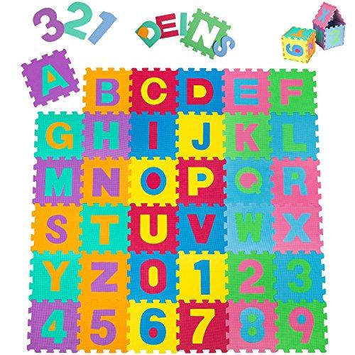 TecTake Kinderteppich Spielmatte Lernteppich Puzzlematte 86 TLG. ca. 180x180 cm