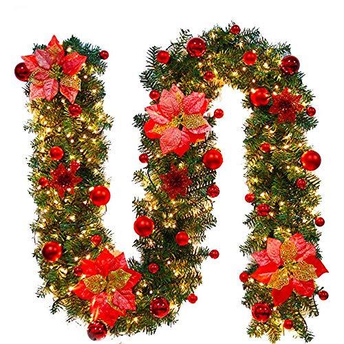 Weihnachtskranz mit LED Lichterkette Beleuchtung 270cm Weihnachtsgirlande künstlich Weihnachten Girlande...