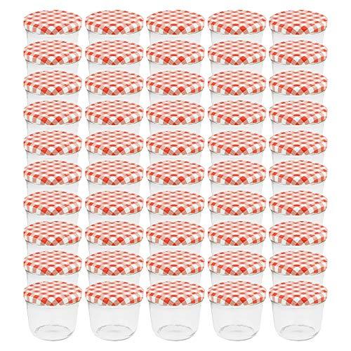 WELLGRO® Einmachgläser mit Schraubdeckel - 230 ml, 8,5 x 6,5 cm (ØxH), Glas/Metall, rot karierte Deckel To...