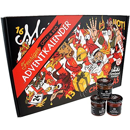 Chili- und BBQ Adventskalender   24 unterschiedliche Chili- und BBQ-Saucen   mild bis höllisch   Geschenk...