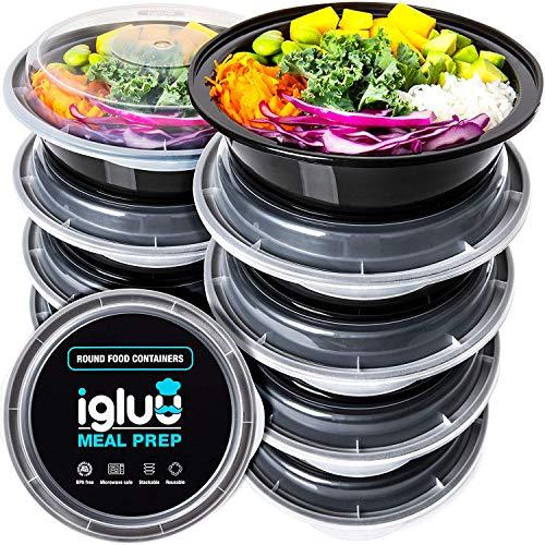 Runde Meal Prep Container Von Igluu [10er Pack] - Essensbox, Lunchbox Mikrowellengeeignet, Spülmaschinenfest...