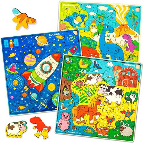Puzzle ab 4 5 6 Jahre - 3 x 30 Teile Kinder Holz Steckpuzzle und Spielzeug für Lernspiele - Geschenk...