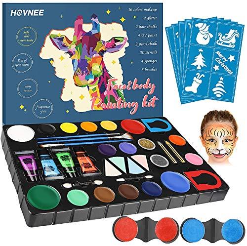 HOVNEE Kinderschminke Set,Face paint set 16 Professionelle Schminkfarben . 4 UV Fluoreszierende Pigmente. 2...