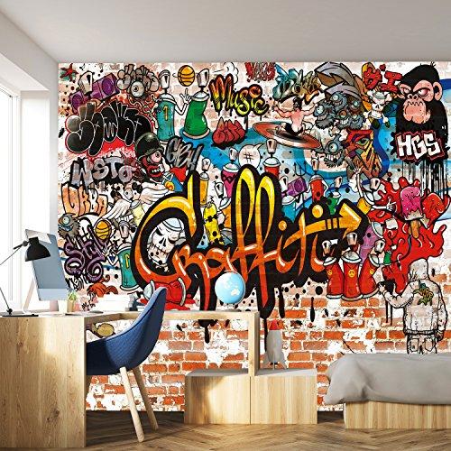 murimage Fototapete Graffiti 366 x 254 cm Kinderzimmer Steinwand bunt Jungen Steine Grafitti inklusive...