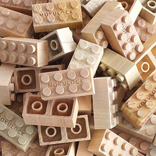 Mokulock Kodomo Holz Bausteine, 34 Steine, kompatibel mit allen bekannten Bausteinmarken, nachhaltig...