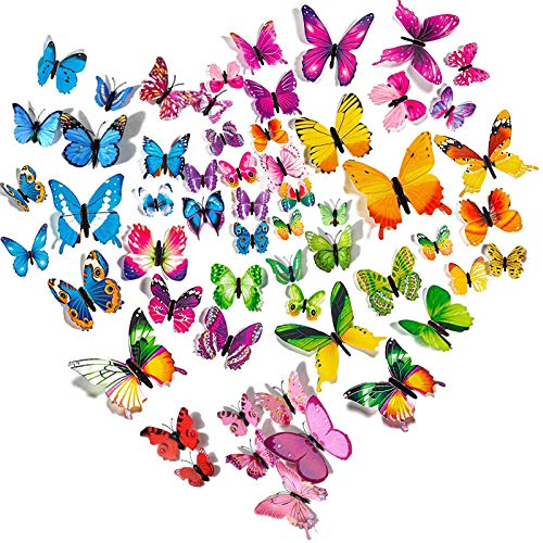 Imbry 72 Stück 3D Schmetterling Aufkleber Wandsticker Wandtattoo Wanddeko für Wohnung, Raumdekoration...